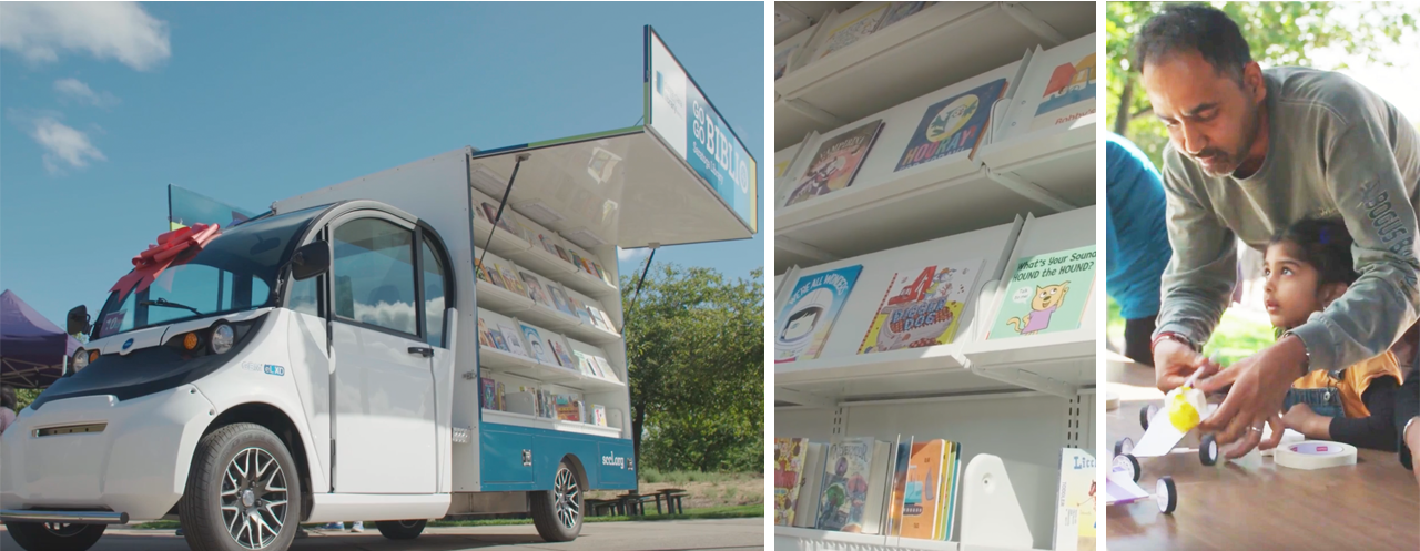 Eye-catching mini bookmobiles debuted by Santa Clara County Library
